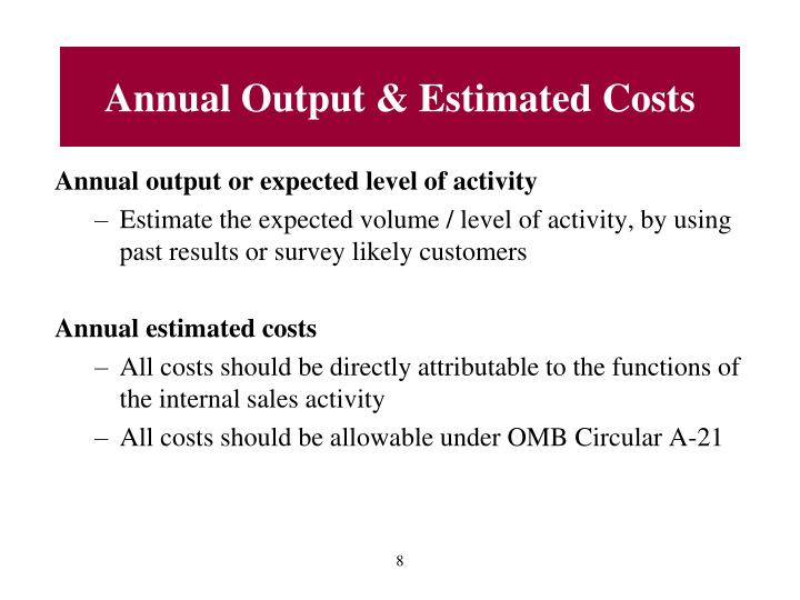 Annual Output & Estimated Costs