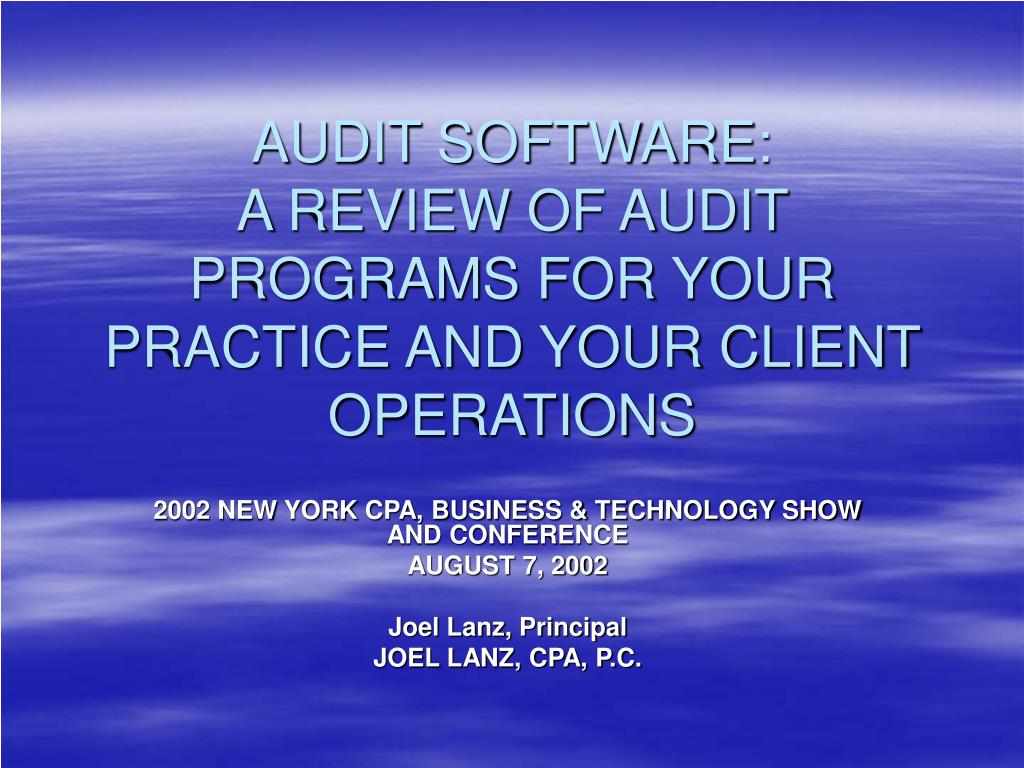 audit software a review of audit programs for your practice and your client operations l.