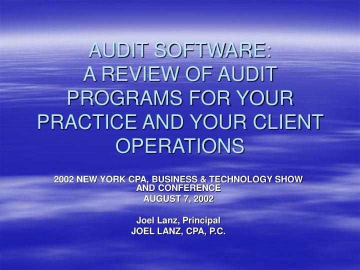 Audit software a review of audit programs for your practice and your client operations