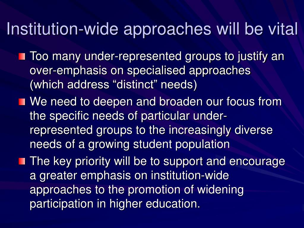 Institution-wide approaches will be vital