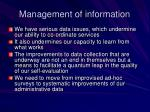 management of information
