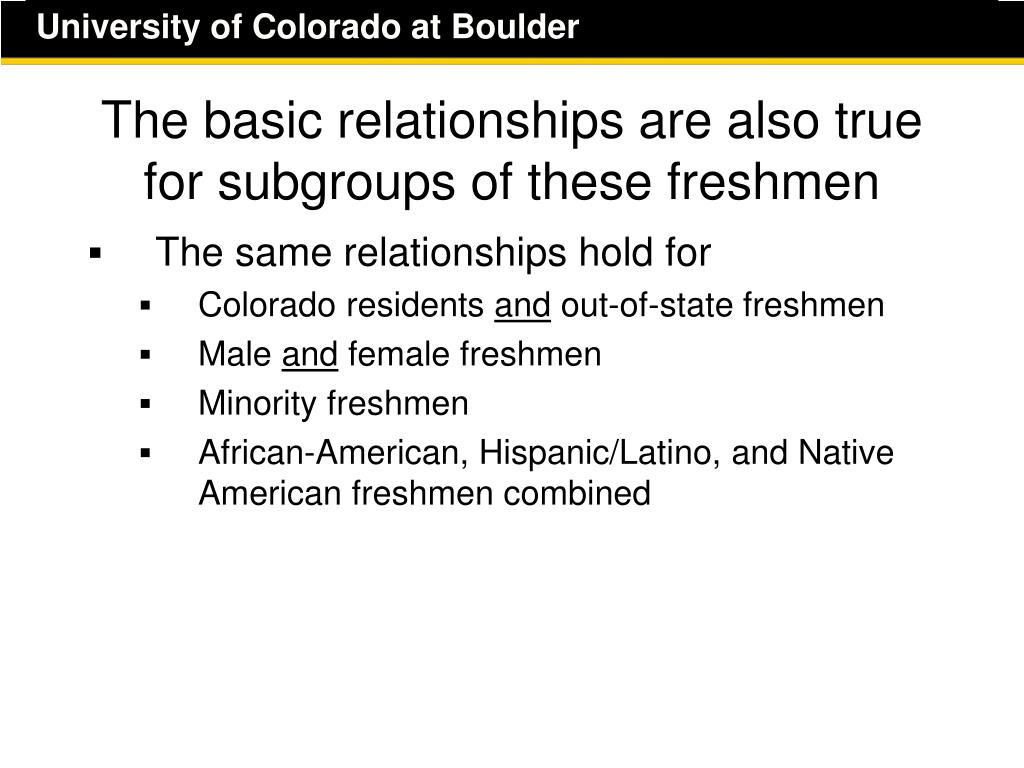 The basic relationships are also true for subgroups of these freshmen