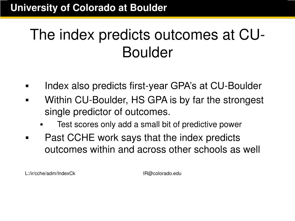 The index predicts outcomes at CU-Boulder