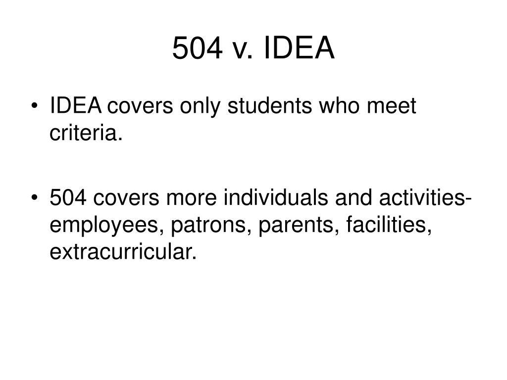504 v. IDEA