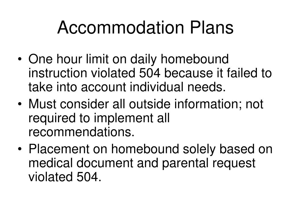 Accommodation Plans