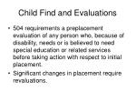 child find and evaluations