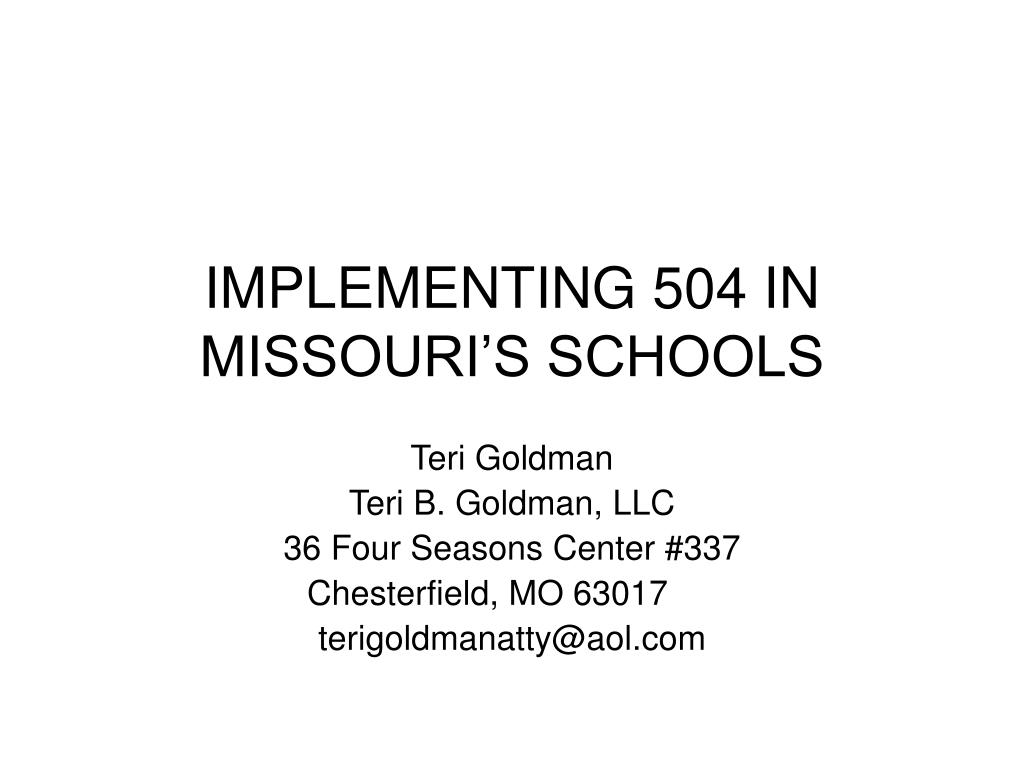 implementing 504 in missouri s schools l.