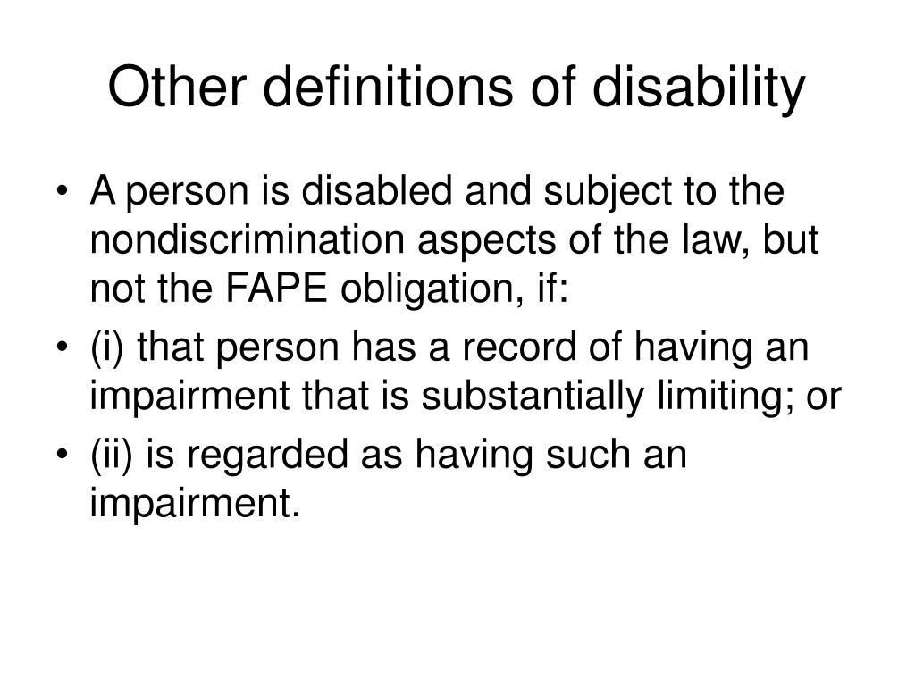 Other definitions of disability