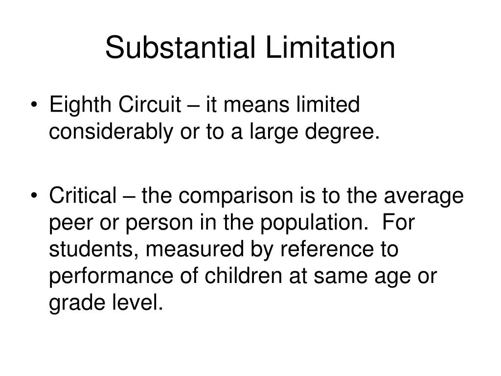 Substantial Limitation