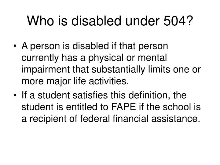Who is disabled under 504