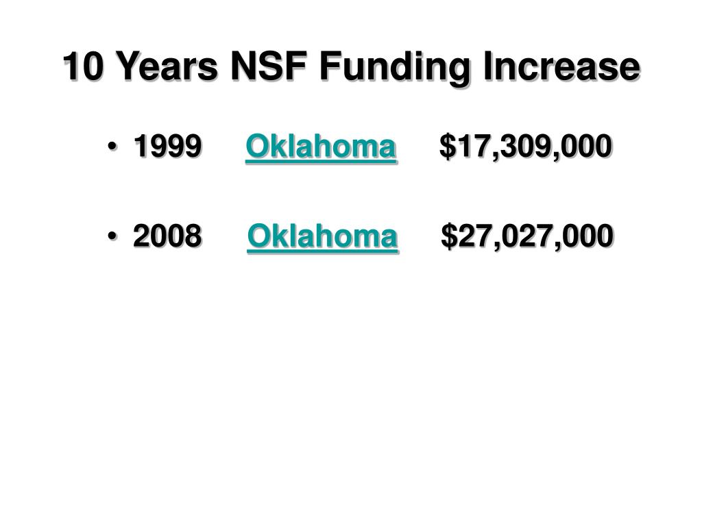 10 Years NSF Funding Increase