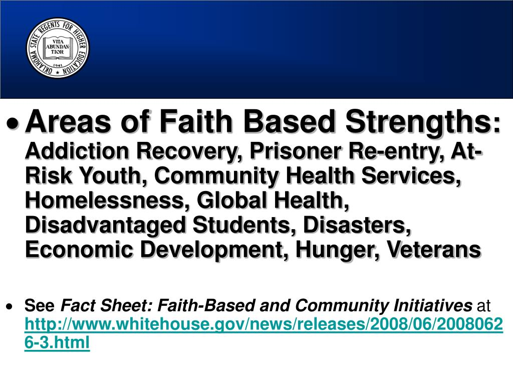 Areas of Faith Based Strengths