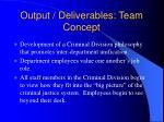 output deliverables team concept