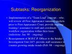 subtasks reorganization