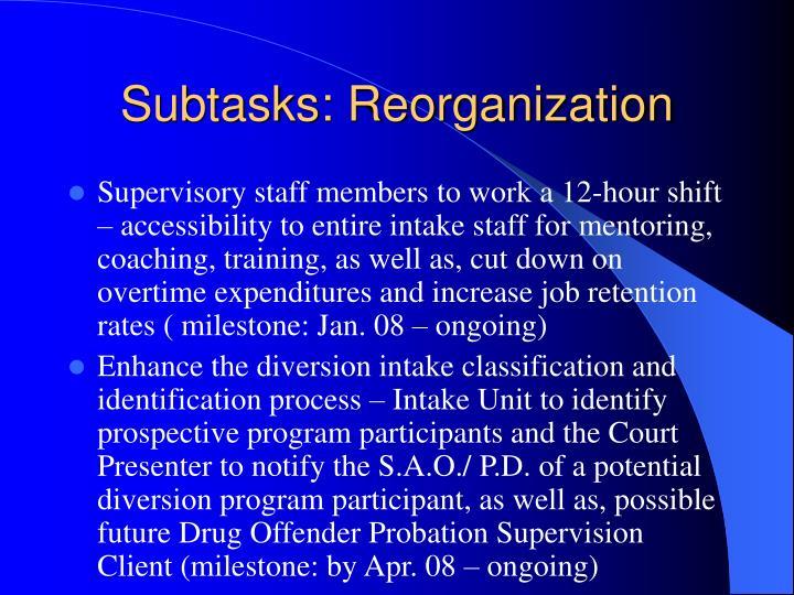 Subtasks: Reorganization