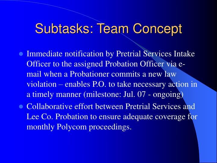 Subtasks: Team Concept