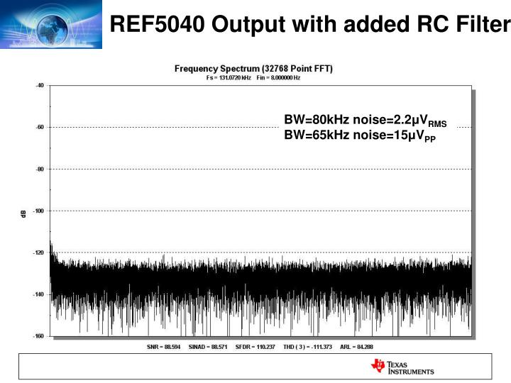 REF5040 Output with added RC Filter