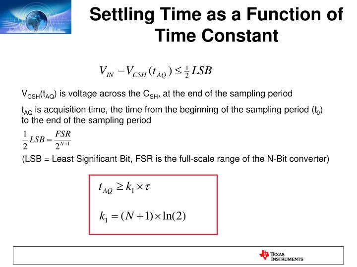 Settling Time as a Function of Time Constant