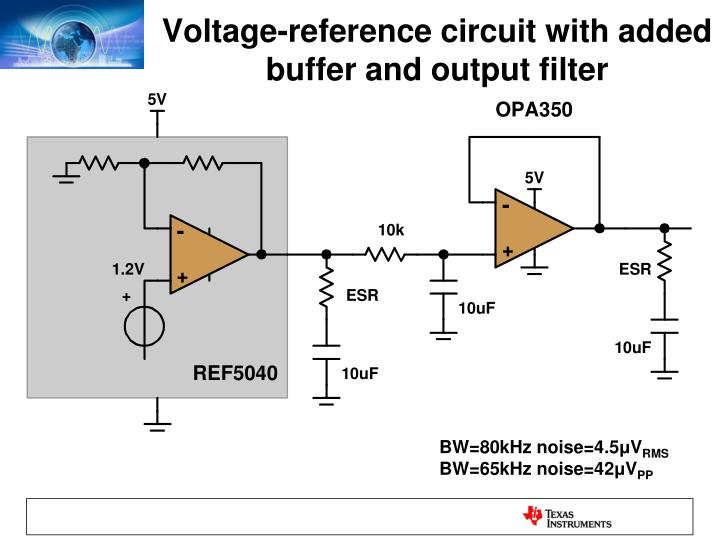Voltage-reference circuit with added buffer and output filter