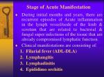 stage of acute manifestation