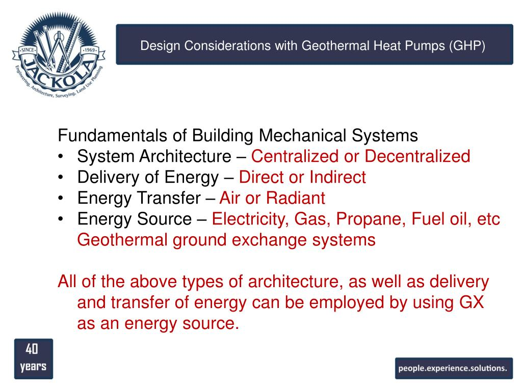 PPT - Design Considerations with Geothermal Heat Pumps (GHP