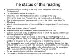 the status of this reading