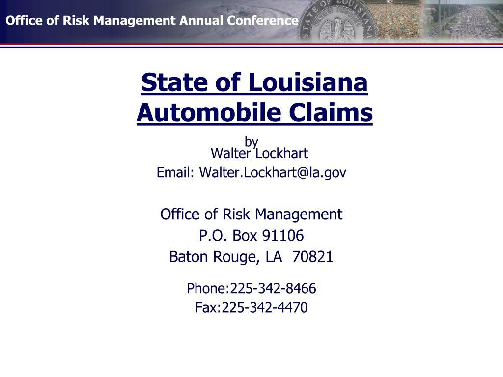 state of louisiana automobile claims l.