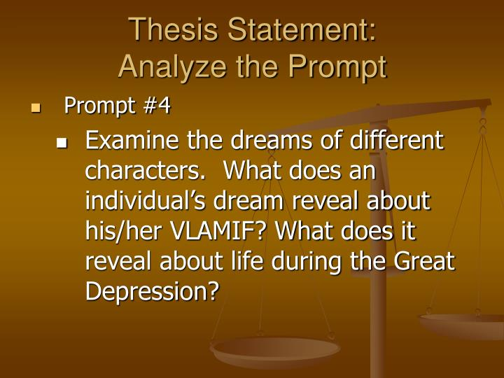 thesis statement about dreams