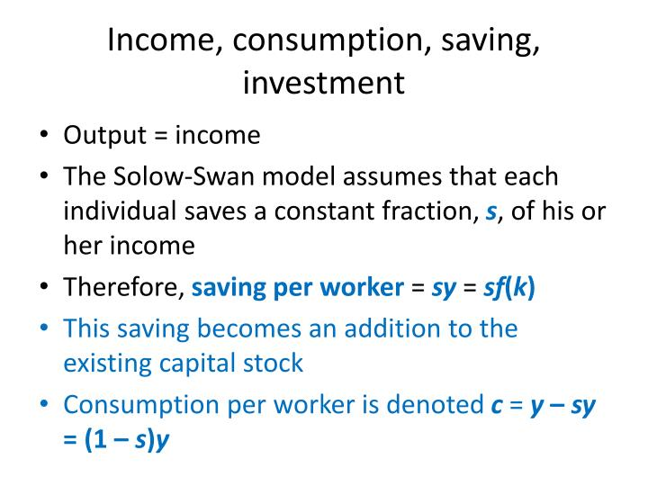 Income, consumption, saving, investment