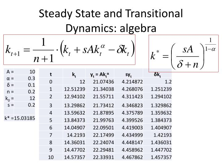 Steady State and Transitional Dynamics