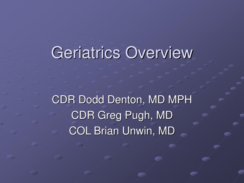 geriatrics overview l.