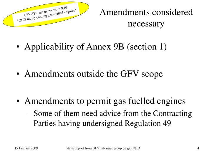 Amendments considered necessary