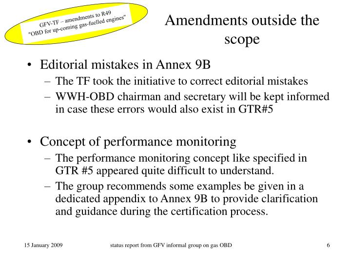 Amendments outside the scope