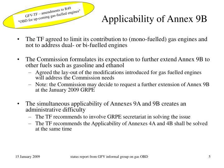 Applicability of Annex 9B