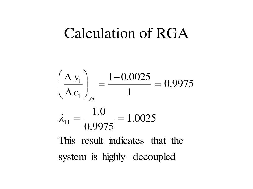 Calculation of RGA