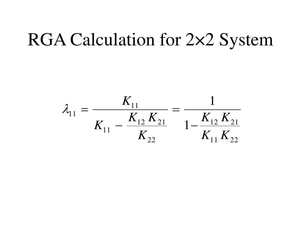 RGA Calculation for 2×2 System