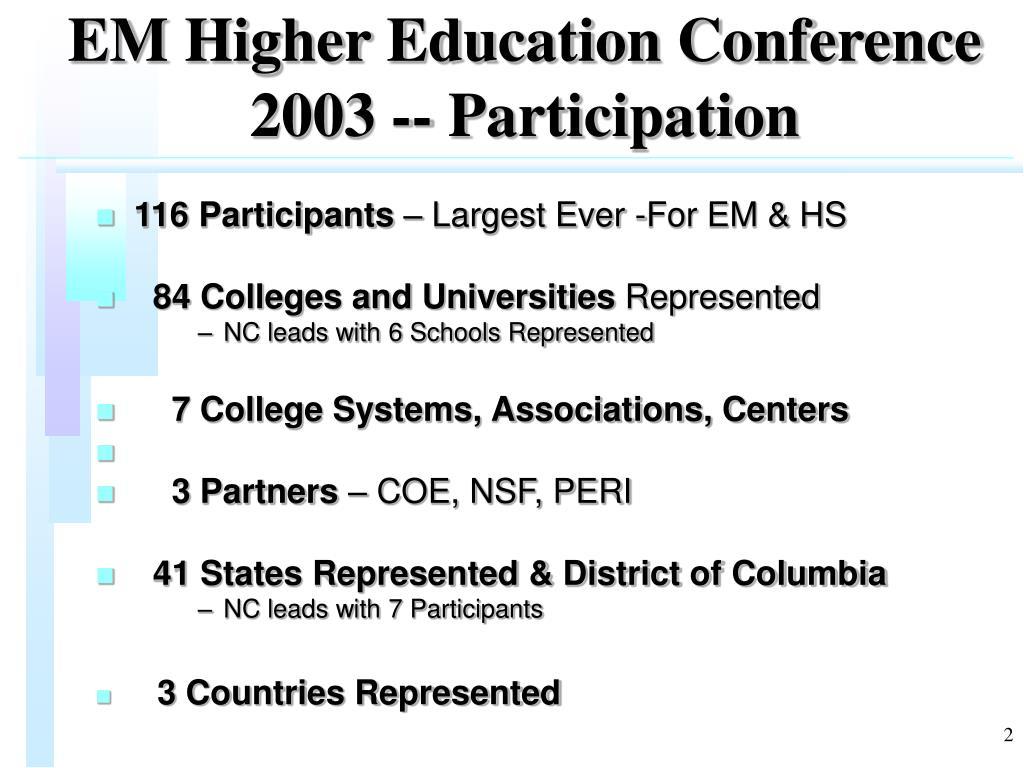 EM Higher Education Conference 2003 -- Participation