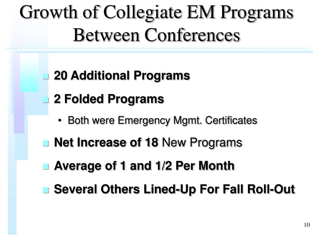 Growth of Collegiate EM Programs