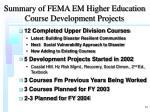 summary of fema em higher education course development projects