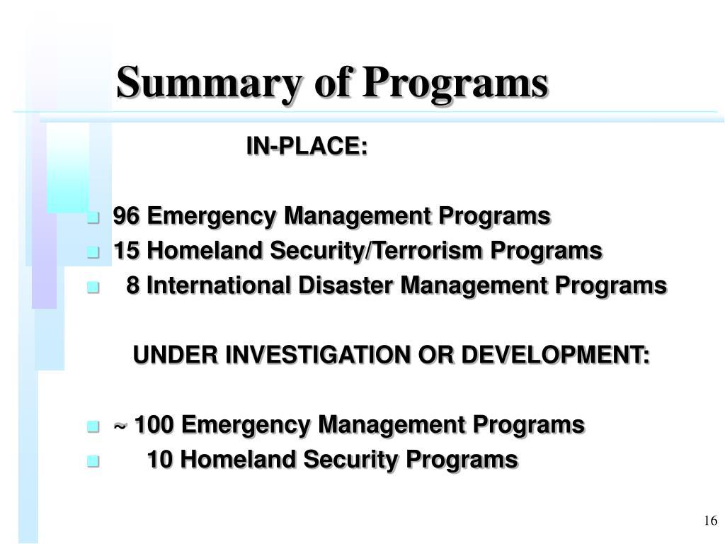 Summary of Programs