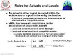 rules for actuals and locals