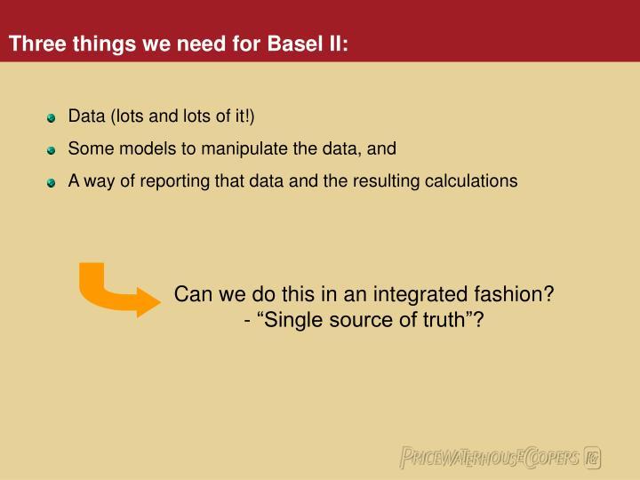 Three things we need for basel ii