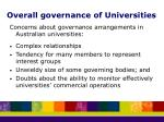 overall governance of universities