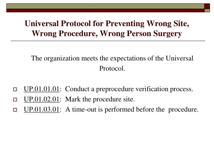 Universal Protocol for Preventing Wrong Site, Wrong Procedure, Wrong Person Surgery