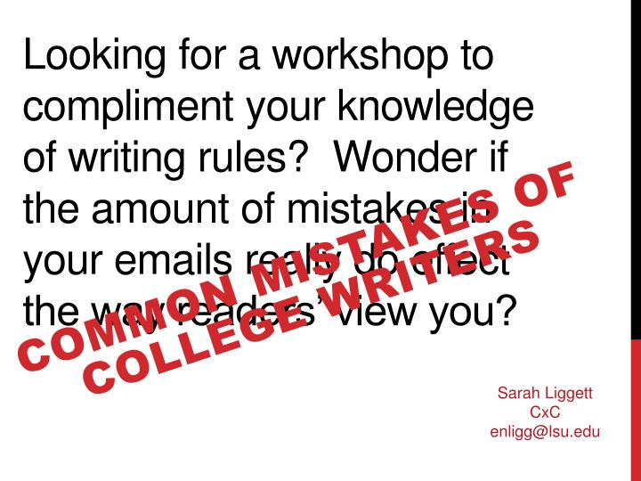 common mistakes of college writers n.