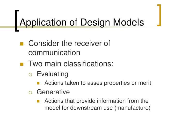 Application of Design Models