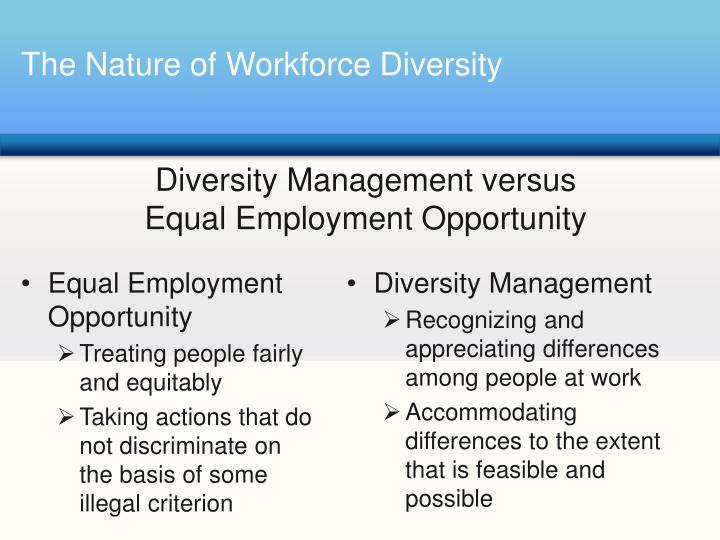 describe forms of workforce diversity