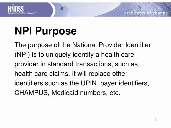 NPI Purpose