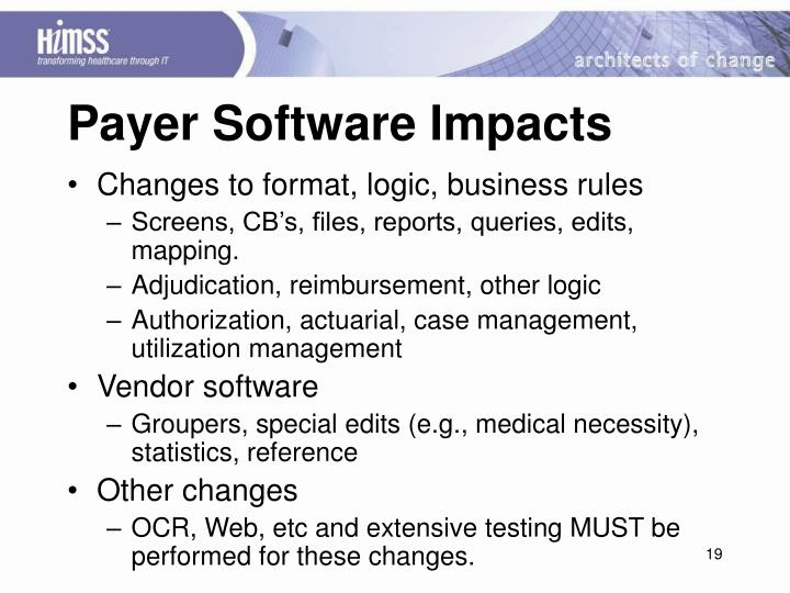 Payer Software Impacts