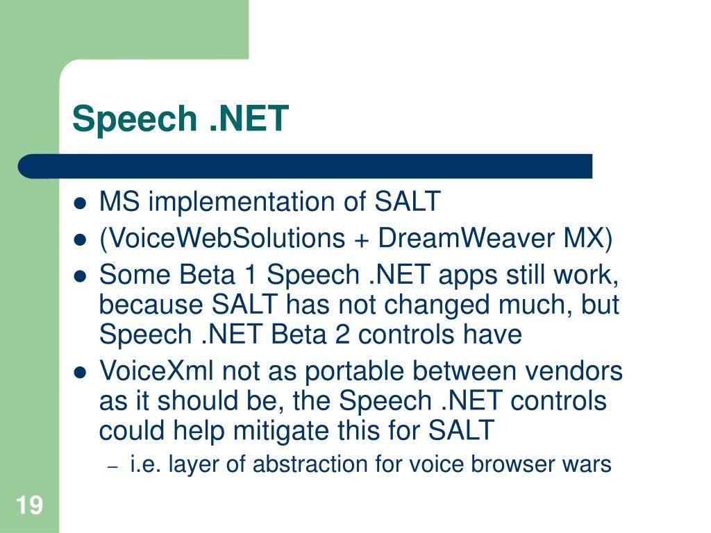 Speech .NET
